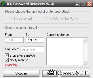 ICQ Password recovery v.1.8