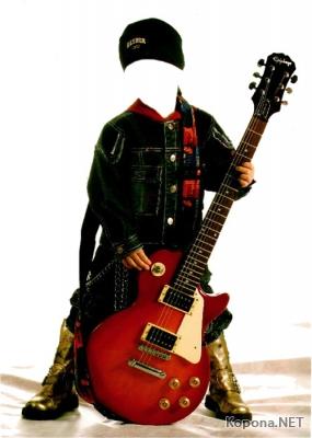 Мальчик с гитарой - PSD-шаблон