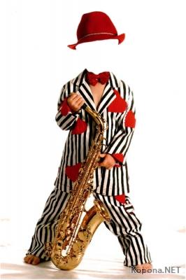 Мальчик с саксофоном - PSD-шаблон