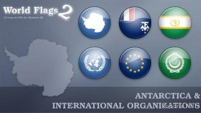 World Flag Icons set 2 - Antarctica & International Organizations