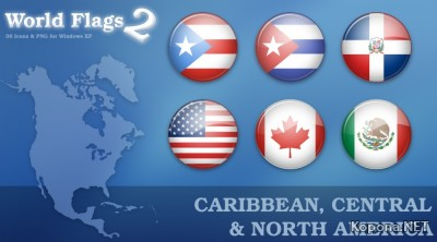 World Flags Icon Set 2 - Caribbean, Central and North America