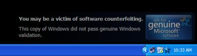 Windows XP пиратского производства почернеет