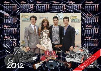 Календарь The Jonas Brothers на 2012 год - 02 (PSD)