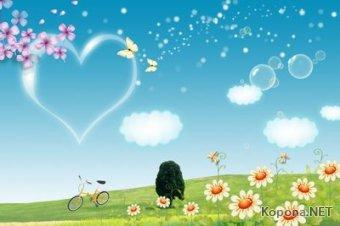 Пейзажный PSD-шаблон - Лето-Любовь (PSD)