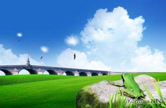 Пейзажный PSD-шаблон - Изумрудное чудо (PSD)