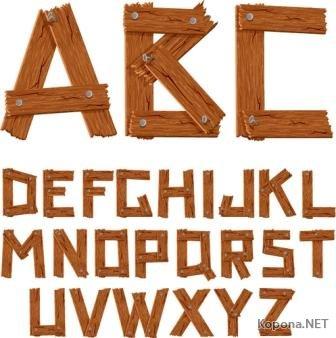 Алфавит в деревянном стиле (EPS, Ai)